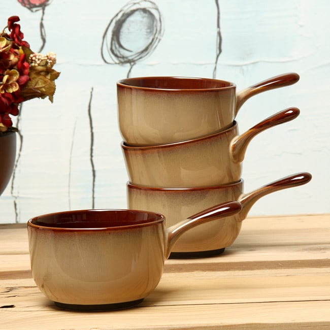 Sango Nova Brown 4-piece Onion Soup Bowl Set - Thumbnail 0