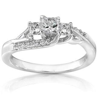 Annello 14k White Gold 1/2ct TDW Diamond Engagement Ring