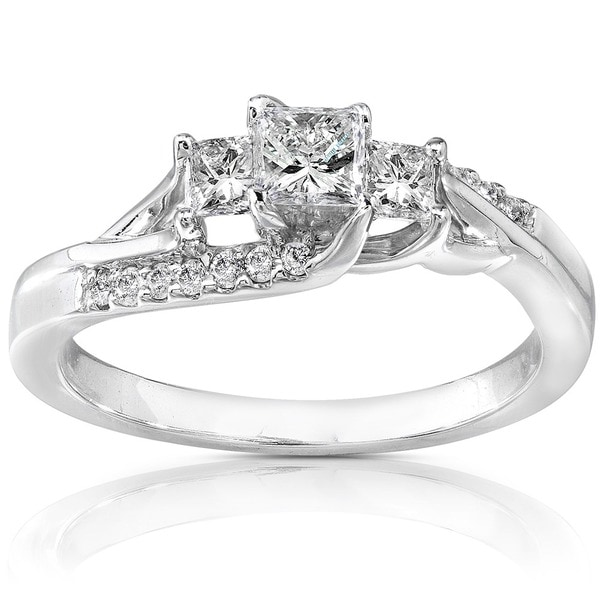 Annello 14k White Gold 1/2ct TDW Diamond Engagement Ring