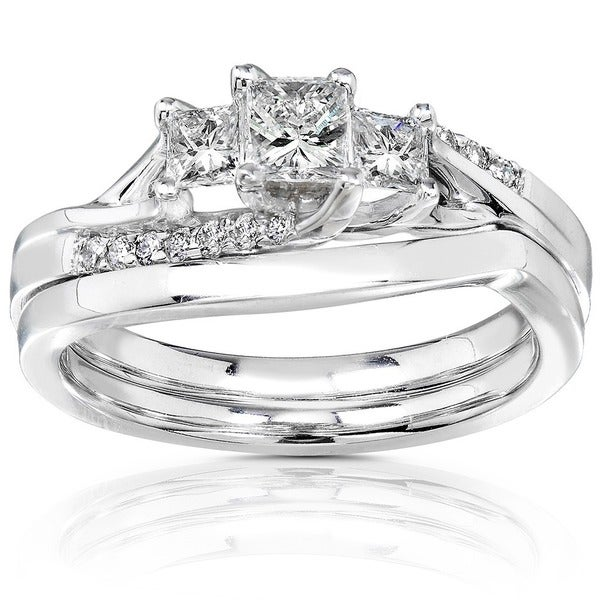 Annello by Kobelli 14k Gold 1/2ct TDW Princess-cut Diamond Bridal Ring Set