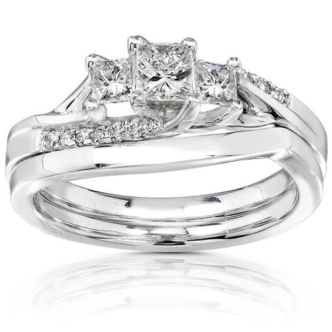 Annello by Kobelli 14k White Gold 1/2ct TDW Princess-cut Diamond 3 Stone Bridal Rings Set