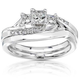 Annello by Kobelli 14k Gold 1/2ct TDW Princess-cut Diamond Bridal Ring Set