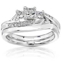 Annello by Kobelli 14k White Gold 1/2ct TDW Princess-cut Diamond 3 Stone Bridal Rings Set