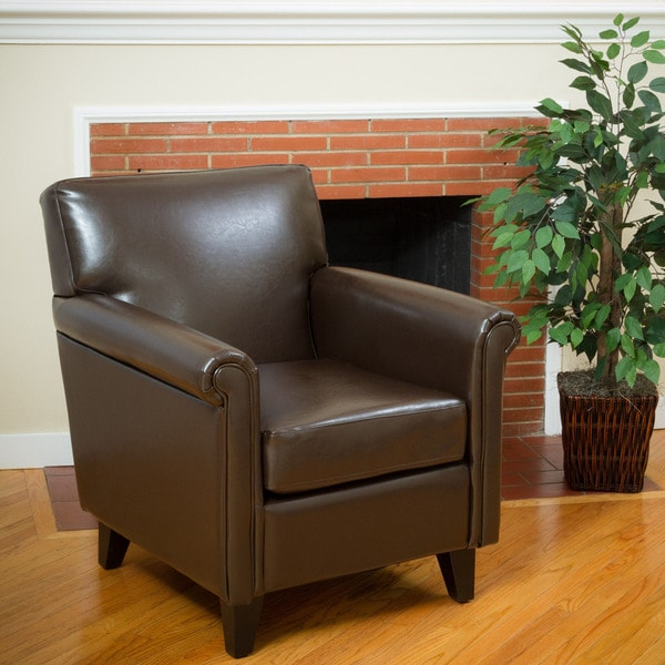 Leeds Classic Brown Bonded Leather Club Chair by Christopher Knight Home. Opens flyout.