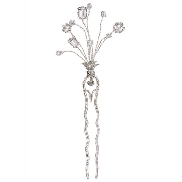 Tacori Bridal Evening Sterling Silver White Topaz and Crystal Hairpin