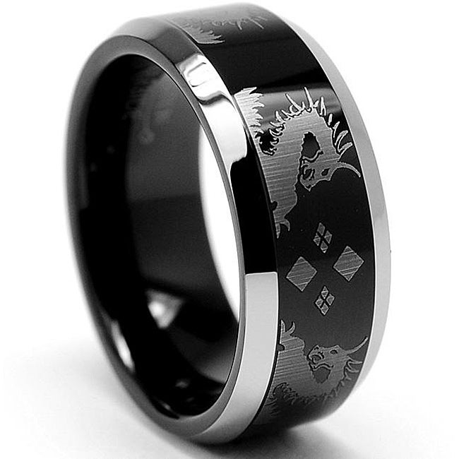 Men's Tungsten Black-plated Carbide with Etched Dragon Ring