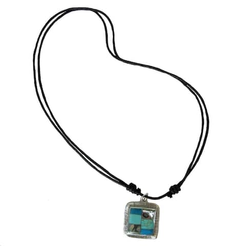 Handmade Silver Turquoise and Abalone Necklace (Mexico)