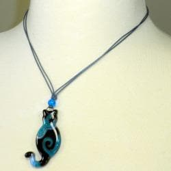 Waxed Cord Blue Glass Cat Necklace (Chile) - Thumbnail 1