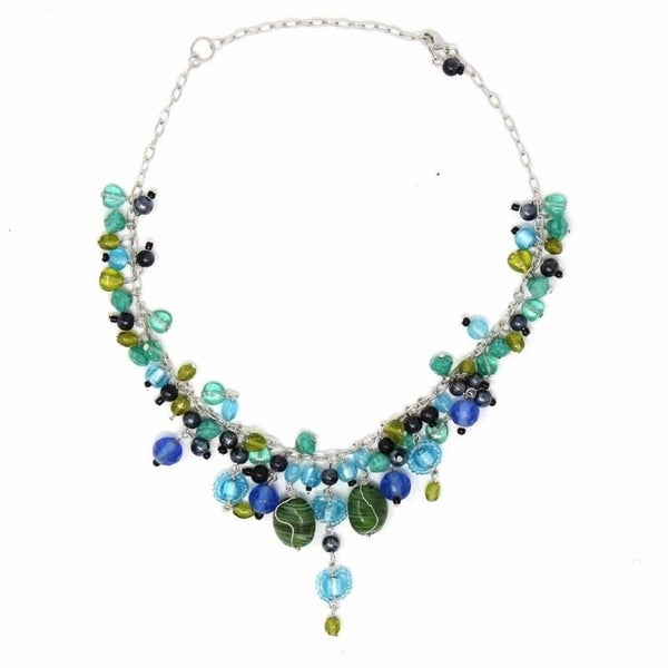 Handmade Silver Metal Green and Blue Glass Bead Charm Necklace (India)