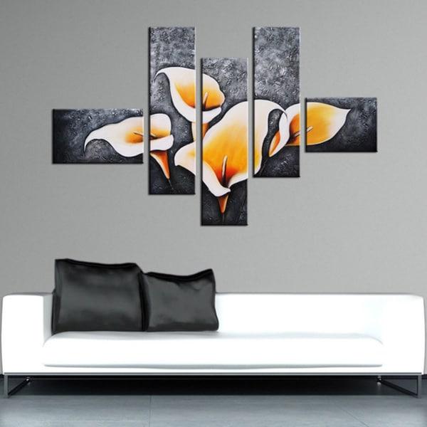 Hand Painted 'Lily Garden' 5-piece Art Set