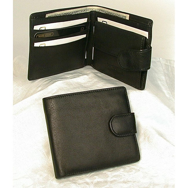 JDD Black Leather Snap-closure Wallet