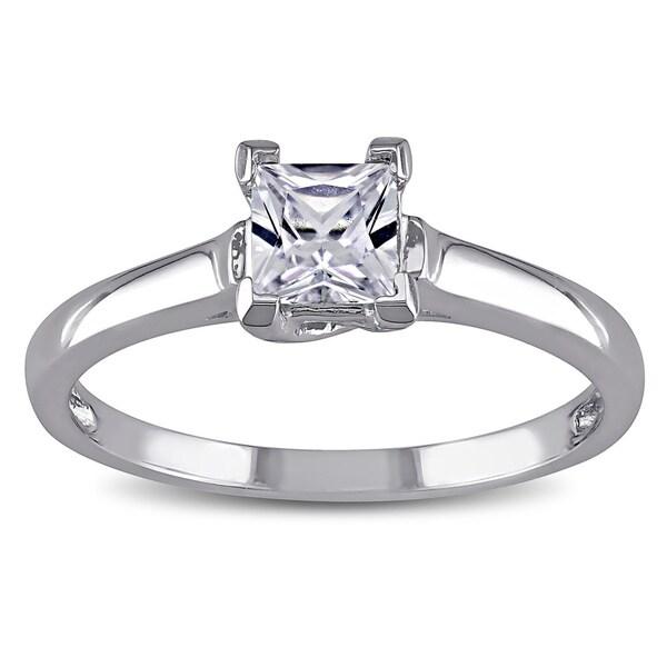 Miadora 10k Gold Created White Sapphire Solitaire Ring