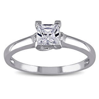 Miadora 10k Gold Created White Sapphire Solitaire Ring