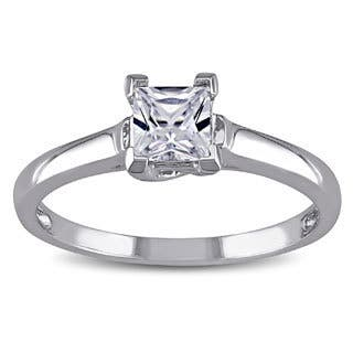 Miadora 10k Gold Created White Shire Solitaire Ring