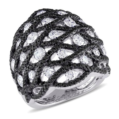 Miadora Signature Collection 18k White Gold 2 4/5ct TDW Black and White Diamond Ring