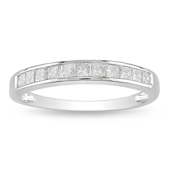 Miadora 10k White Gold 1/2ct TDW Diamond Anniversary Ring (H-I, I2-I3)