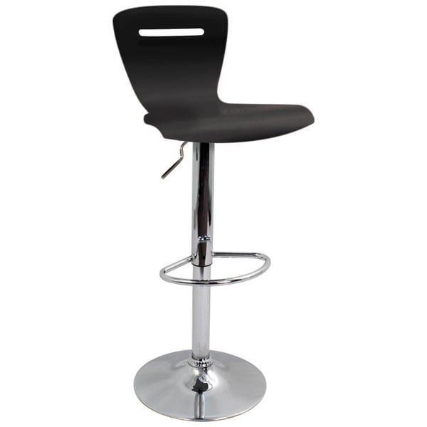 H2 Wood Hydraulic Black Barstool