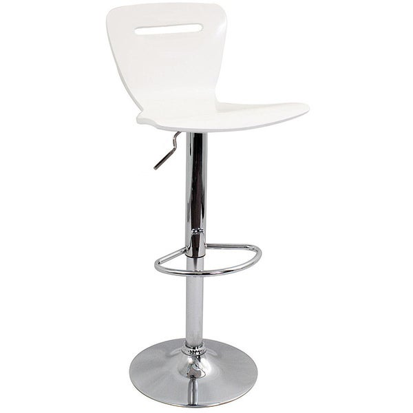 H2 Wood Hydraulic White Barstool