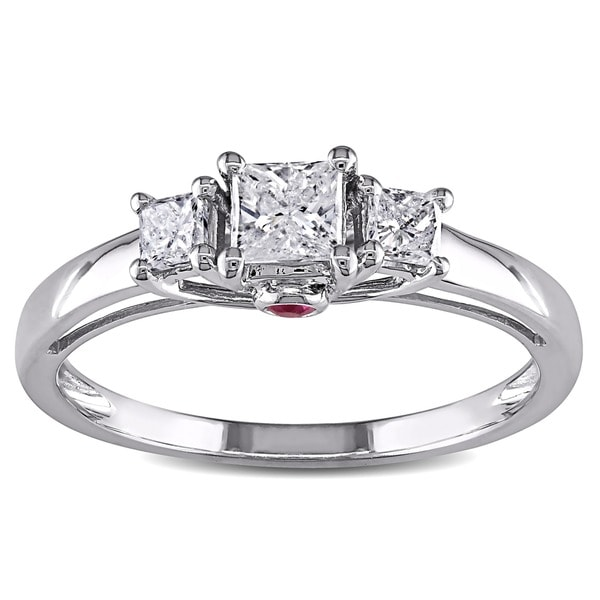 Miadora Signature Collection 14k White Gold 1/2ct TDW Diamond and Pink Sapphire 3-Stone Engagement Ring