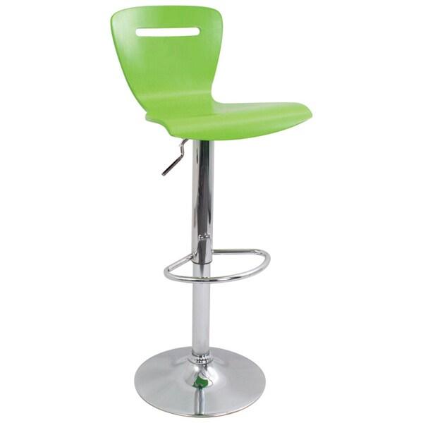 H2 Wood Hydraulic Green Barstool