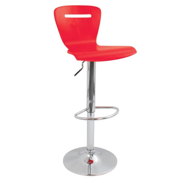 H2 Wood Hydraulic Red Barstool