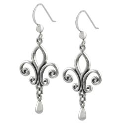 Journee Collection  Sterling Silver Fleur de Lis Earrings - Thumbnail 1