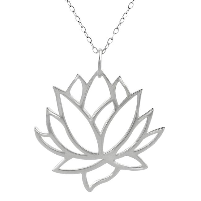 Journee Sterling Silver Cut-out Lotus Flower Necklace