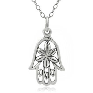 Journee Collection  Sterling Silver Hamsa Hand Necklace