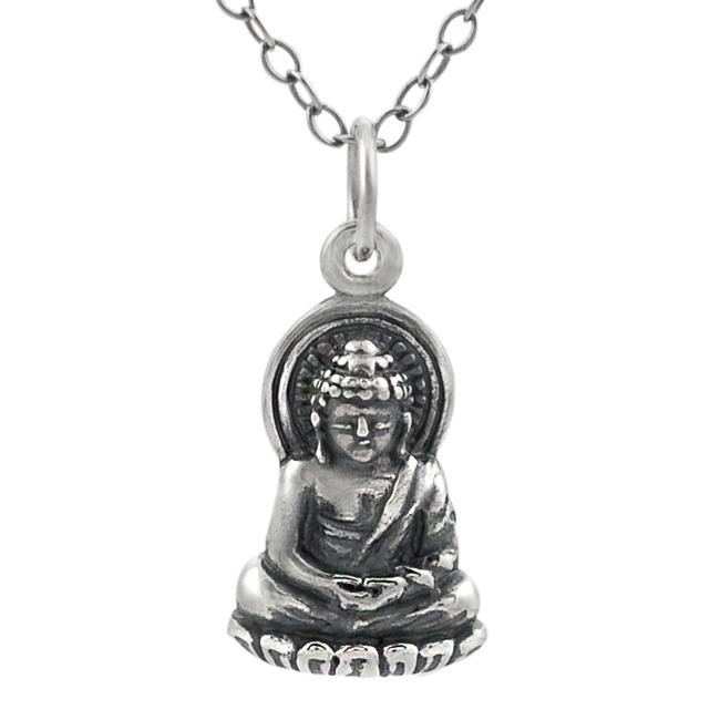 Journee Collection  Sterling Silver Buddha on Lotus Blossom Necklace