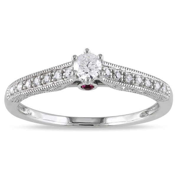 L'Amour Enrose by Miadora 14k Gold 1/4ct TDW Diamond and Sapphire Engagement Ring (H-I, I2-I3)
