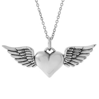 Journee Collection Sterling Silver Heart with Wings Necklace