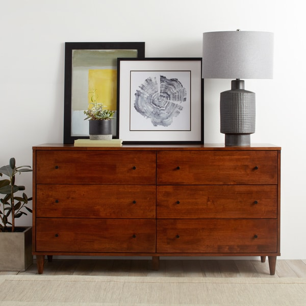 Strick & Bolton Vilas 6-drawer Tobacco Dresser