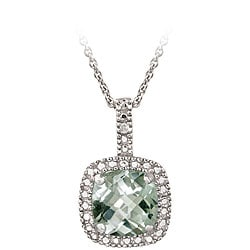 Glitzy Rocks Sterling Silver 2.35 CTW Green Amethyst and Diamond Accent Square Necklace