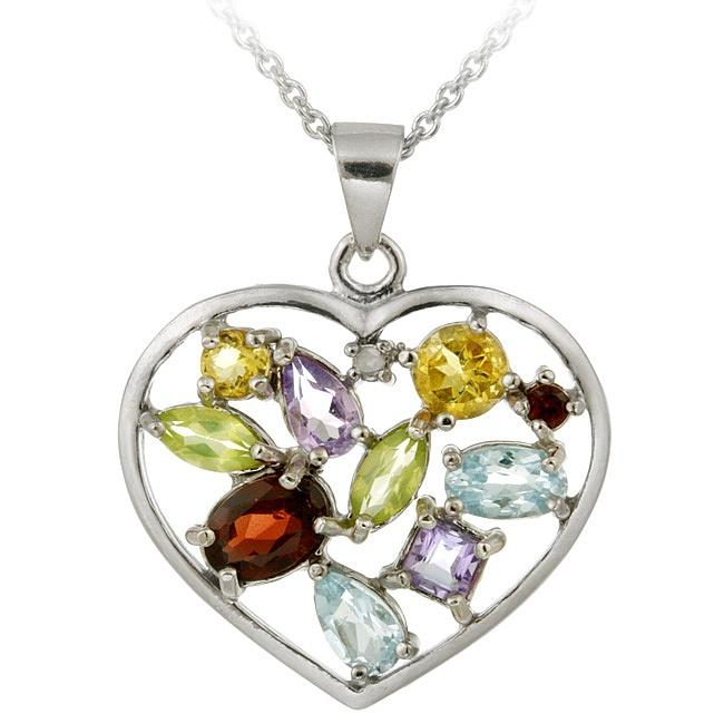 Glitzy Rocks Sterling Silver Multi-gemstone and Diamond Accent Heart Necklace
