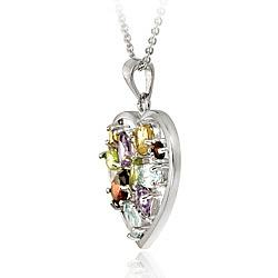 Glitzy Rocks Sterling Silver Multi-gemstone and Diamond Accent Heart Necklace - Thumbnail 1