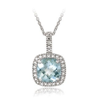 Glitzy Rocks Sterling Silver 2 3/8ct TGW Gemstone and Diamond Accent Square Necklace
