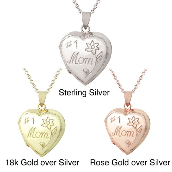 Mondevio Sterling Silver '#1 Mom' Heart Locket Necklace