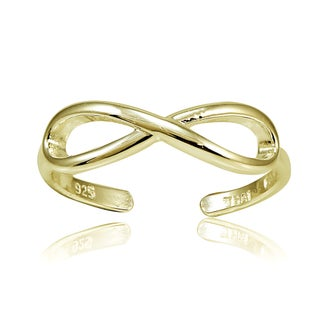 Mondevio Sterling Silver Infinity Toe Ring (Option: 18k Gold Over Silver)