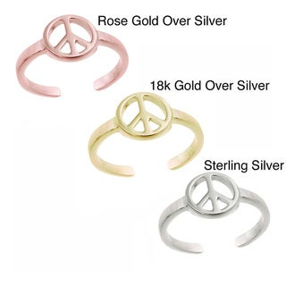Mondevio Women's Sterling Silver High-polished Cut-out Peace Sign Toe Ring