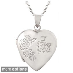 Mondevio Sterling Silver 'I Love You' Heart Locket Necklace (2 options available)