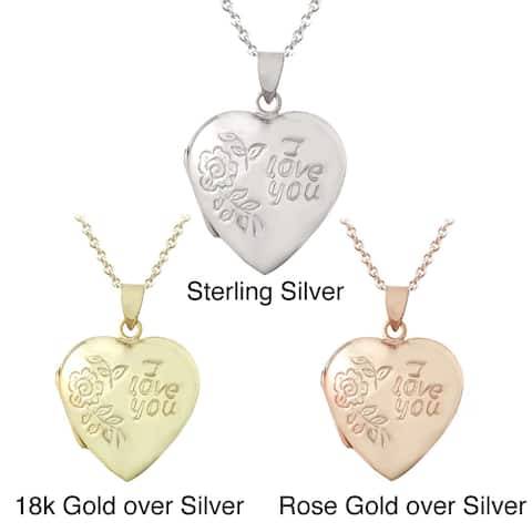 Mondevio Sterling Silver 'I Love You' Heart Locket Necklace