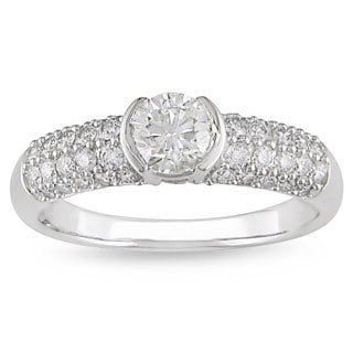 Miadora 14k White Gold 1ct TDW Diamond Engagement Ring
