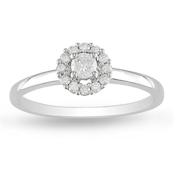 Miadora 14k White Gold 1/4ct TDW Halo Round Diamond Ring