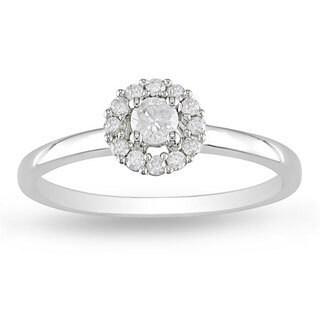 Miadora 14k White Gold 1/4ct TDW Halo Round Diamond Ring