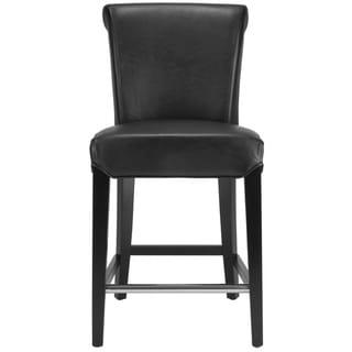 "Safavieh Madison Black Leather 23-inch Counter Stool - 18.7"" x 23.2"" x 36"""