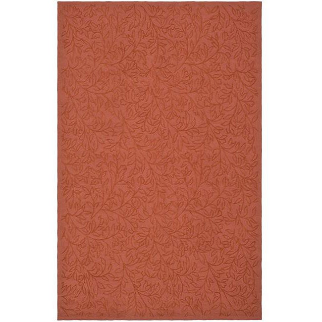 Martha Stewart by Safavieh Sprig Begonia Orange Cotton Rug - 3'9 x 5'9
