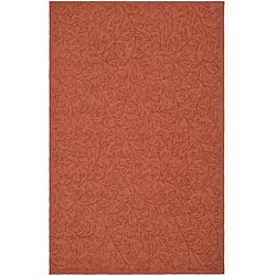 Martha Stewart by Safavieh Sprig Begonia Orange Cotton Rug (3'9 x 5'9)