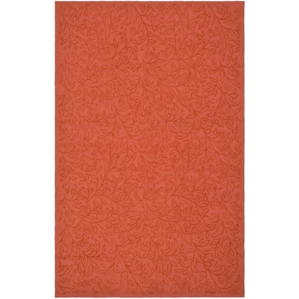 """Martha Stewart by Safavieh Sprig Begonia Orange Cotton Rug - 3'9"""" x 5'9"""""""