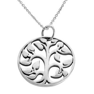 Journee Collection  Sterling Silver Tree of Life 20-mm Necklace