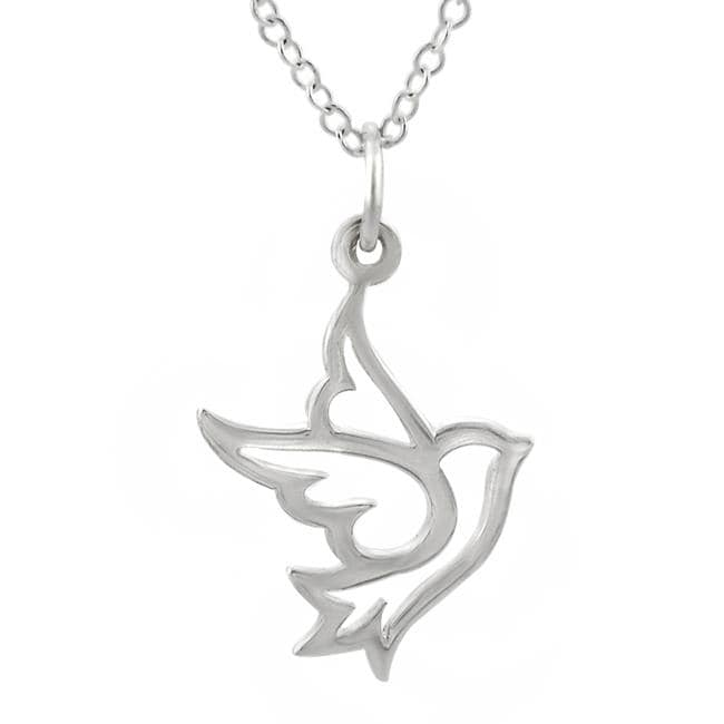 Journee Collection  Sterling Silver Dove Necklace